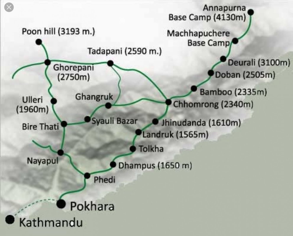 Annapurna Base Camp Trek via poon hill map