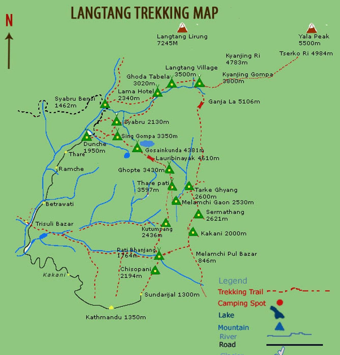 Langtang Valley Trekking Map