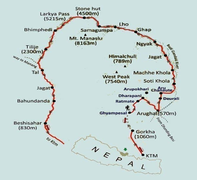 Around Manaslu - Larke La Pass Trek Map